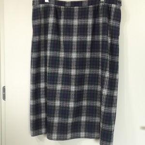 Pendleton wool plaid straight skirt